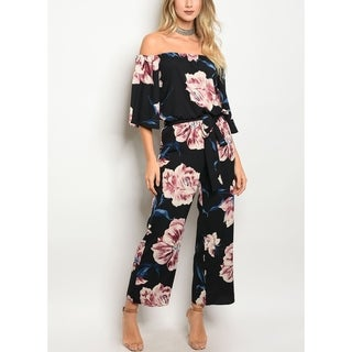 JED Women's Off Shoulder Floral Jumpsuit with Waist Tie