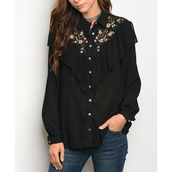 0fe6f332d37 Shop JED Women s Black Ruffled Floral Embroidery Button Down Shirt - Free  Shipping On Orders Over  45 - Overstock - 18734768