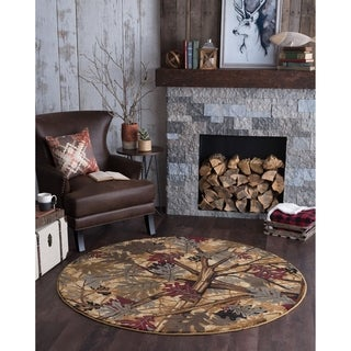 Alise Rugs Natural Novelty Lodge Nature Beige/ Deep Red Area Rug (5'3 Round)
