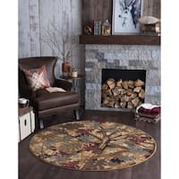 Alise Rugs Natural Lodge Novelty Lodge Round Area Rug - 7'10 x 7'10