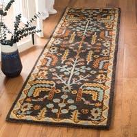 "Safavieh Handmade Heritage Charcoal/ Multi Wool Rug - 2'3"" x 6' Runner"