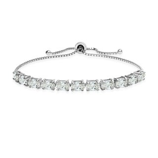ICZ Stonez Sterling Silver 6x4mm Oval Adjustable Bracelet Created with Swarovski Zirconia