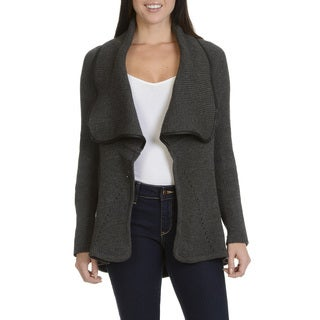 Faith & Zoe Women's Faux Leather Trim Open Flyaway Cardigan