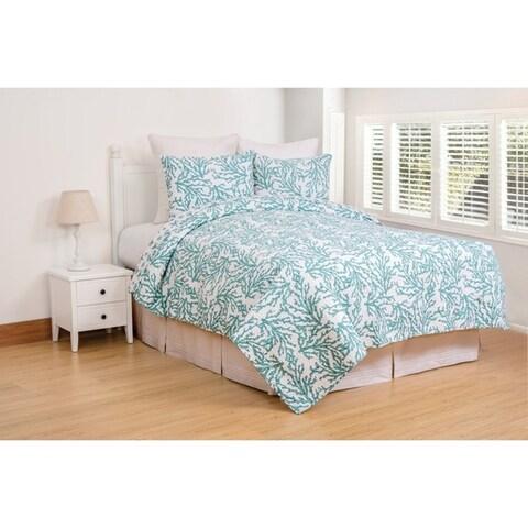 Cora Blue or Gray Coastal Cotton Quilt Set