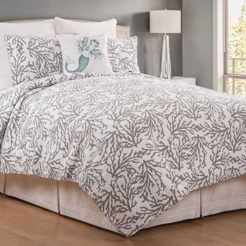 Cora Blue or Gray Coastal Cotton Quilt Set