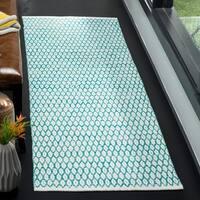 Safavieh Hand-Woven Montauk Aqua/ Ivory Cotton Rug - 2'3 x 7'
