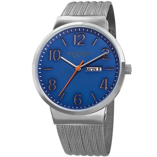 Akribos XXIV Men's Date Stencil Style Silver-Tone Mesh Bracelet Watch. Opens flyout.