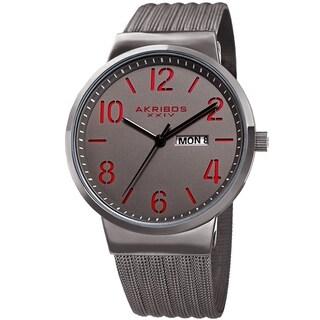Akribos XXIV Men's Date Stencil Style Gray Mesh Bracelet Watch