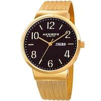 Akribos XXIV Men's Date Stencil Style Gold-Tone Mesh Bracelet Watch