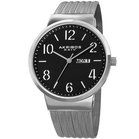 Akribos XXIV Men's Date Stencil Style Silver-Tone Mesh Bracelet Watch