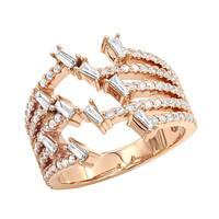 Luxurman 14K Gold 1.1 Carat Designer Diamond Right Hand Ring for Women
