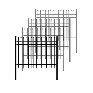 ALEKO Rome Style Self Unassembled Steel Fence 6' x 4' Black Lot of 4