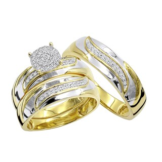 Luxurman 10K Gold Affordable Diamond Engagement Ring Wedding Bang Trio Set 0.2ct