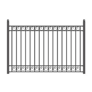 ALEKO Dublin Style Ornamental Iron Wrought Garden Fence 8'x5' Black