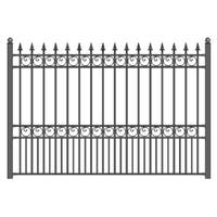 ALEKO London Style Ornamental Iron Wrought Garden Fence 8'x5' Black