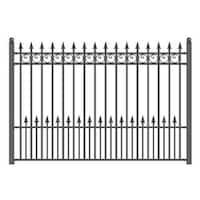 ALEKO Prague Style Ornamental Iron Wrought Garden Fence 8'x5' Black
