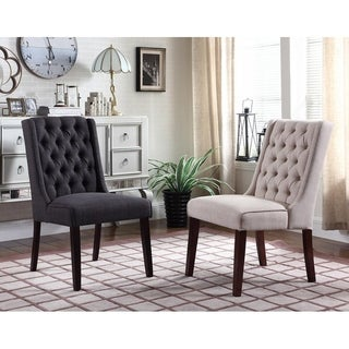 Best Master Furniture Y782 Upholstered Wood Linen Side Chairs (Set of 2)