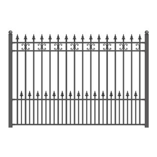 ALEKO Iron Wrought Yard Garden Privacy Fence Panel 8'x5' Black  St. Petersburg