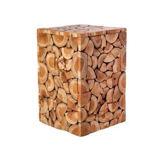 Holzhocker Teak Wood Mosaic Design Stool