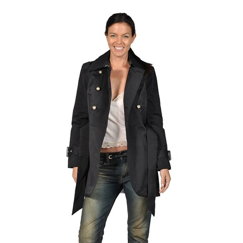 Runway Womens Classic Trench with Silver Metal Buttons, Black Belted