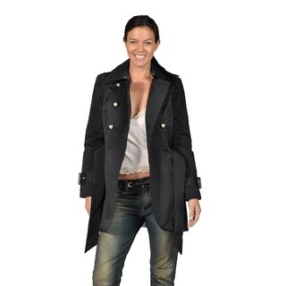 Runway Womens Classic Trench with Silver Metal Buttons, Black Belted (2 options available)