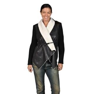Runway Womes Wool Collor Toggle Closure Jacket, Black and White