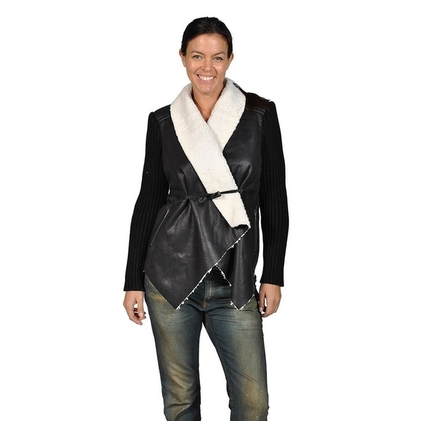 04c59319b0 Shop Runway Womes Wool Collor Toggle Closure Jacket, Black and White ...