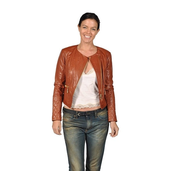 f4291bcefd Shop Runway Womens Leather Biker Style Jacket, Brown - Free Shipping ...