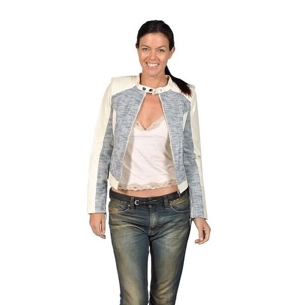 3f059b4fdb Shop Runway Womens Leather Moto Jacket, Ivory and Blue - Free ...