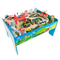 Wooden Train Set Table for Kids, Deluxe Had Painted Wooden Set by Hey! Play!