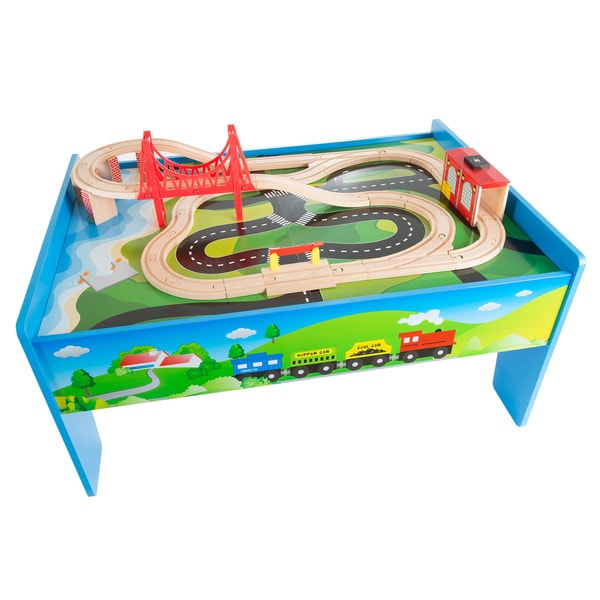 Wooden Train Set Table For Kids, Deluxe Had Painted Wooden Set By Hey!  Play!   Free Shipping Today   Overstock.com   24811022