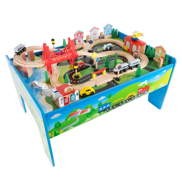 Shop Wooden Train Set Table for Kids, Deluxe Had Painted Wooden Set ...