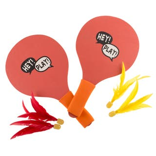 """Outdoor Game Wooden Paddles with Birdies for Indoor or Outdoor Play by Hey! Play! - 13"""" Paddles"""