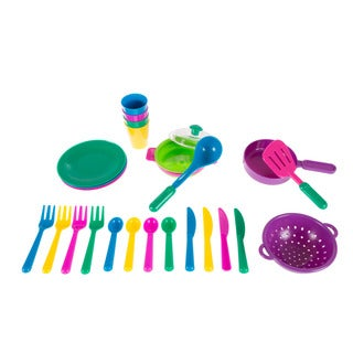 Kids Play Dish Set, 27 Piece Tableware Dish Set with Dish Drainer by Hey! Play!
