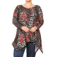 Women's Plus Size Floral Leopard Pattern Tunic
