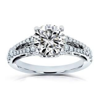 Annello By Kobelli 14k White Gold 1 7 8ct TGW Moissanite And Diamond Vintage Filigree Engagement Ring
