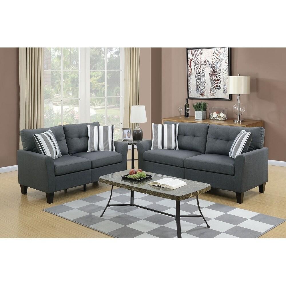 Incredible Bobkona Dreka Glossy Polyfabric 2 Piece Sofa And Loveseat Set Theyellowbook Wood Chair Design Ideas Theyellowbookinfo