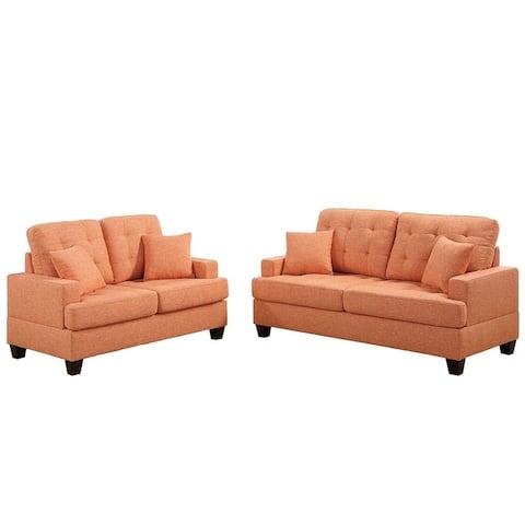Bobkona Spencer Linen-like Polyfabric 2-Piece Sofa and Loveseat Set.