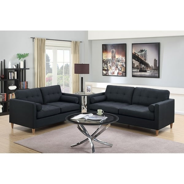 Bobkona Malvern Linen Like Polyfabric 2 Piece Sofa And Loveseat Set