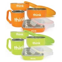 Thinkbaby Complete Stainless Steel Feeding Set - Orange/Light Green - Twin Pack