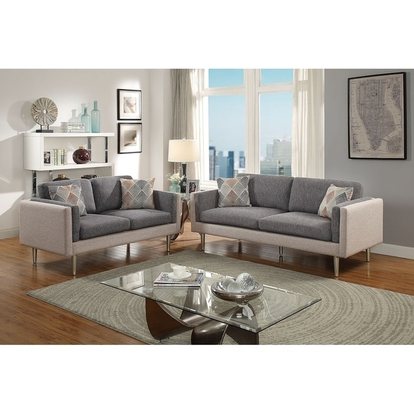Bobkona Alwin Cotton Blended Polyfabric 2 Piece Sofa And Loveseat Set Two Tone