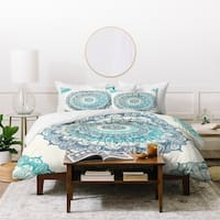 Deny Designs Blue Mandala Duvet Cover Set (3-Piece Set)
