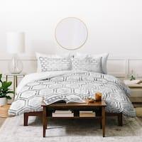 Deny Designs Grey Hexagons Duvet Cover Set (3-Piece Set)