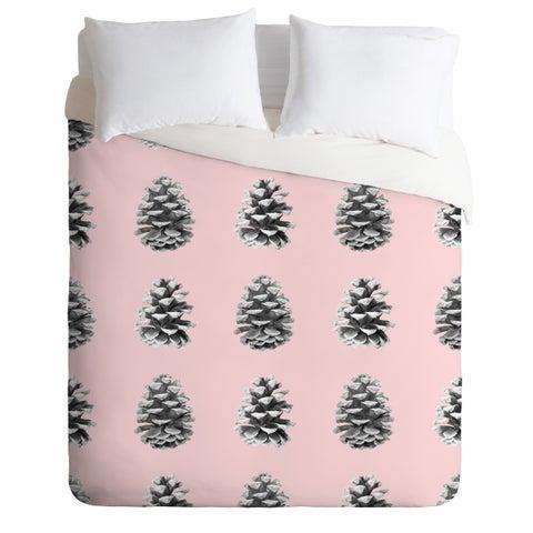 Lisa Argyropoulos Monochrome Pine Cones Blushed Kiss Duvet Cover Set