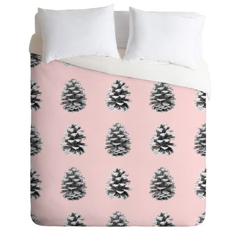 Lisa Argyropoulos Monochrome Pine Cones Blushed Kiss Duvet Cover Set