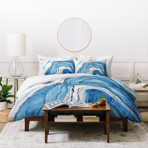 Deny Designs Abstract Blue Agate Duvet Cover Set (3-Piece Set)