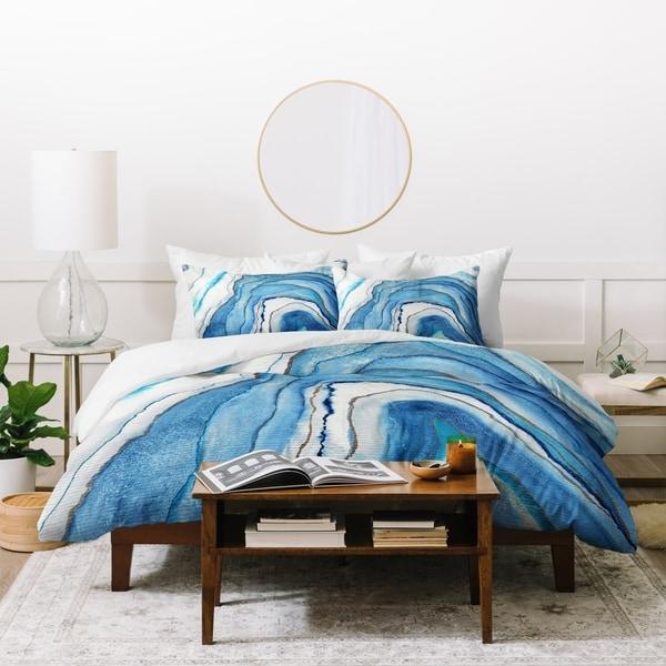 shop deny designs abstract blue agate duvet cover set 3 piece set rh overstock com