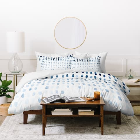 Deny Designs Blue Abstract Paint Marks Duvet Cover Set (3-Piece Set)