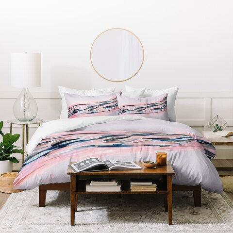 Deny Designs Pink Abstract On Grey Duvet Cover Set (3-Piece Set)