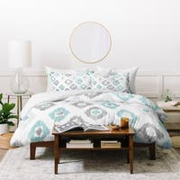 Deny Designs Grey and Blue Ikat Duvet Cover Set (3-Piece Set)